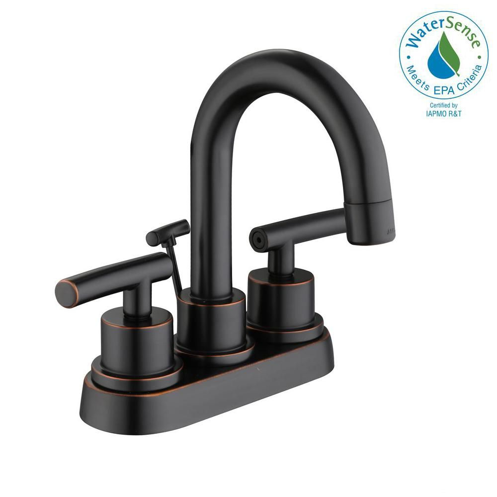 Glacier Bay Dorset 4 in. Centerset 2-Handle High-Arc Bathroom Faucet ...