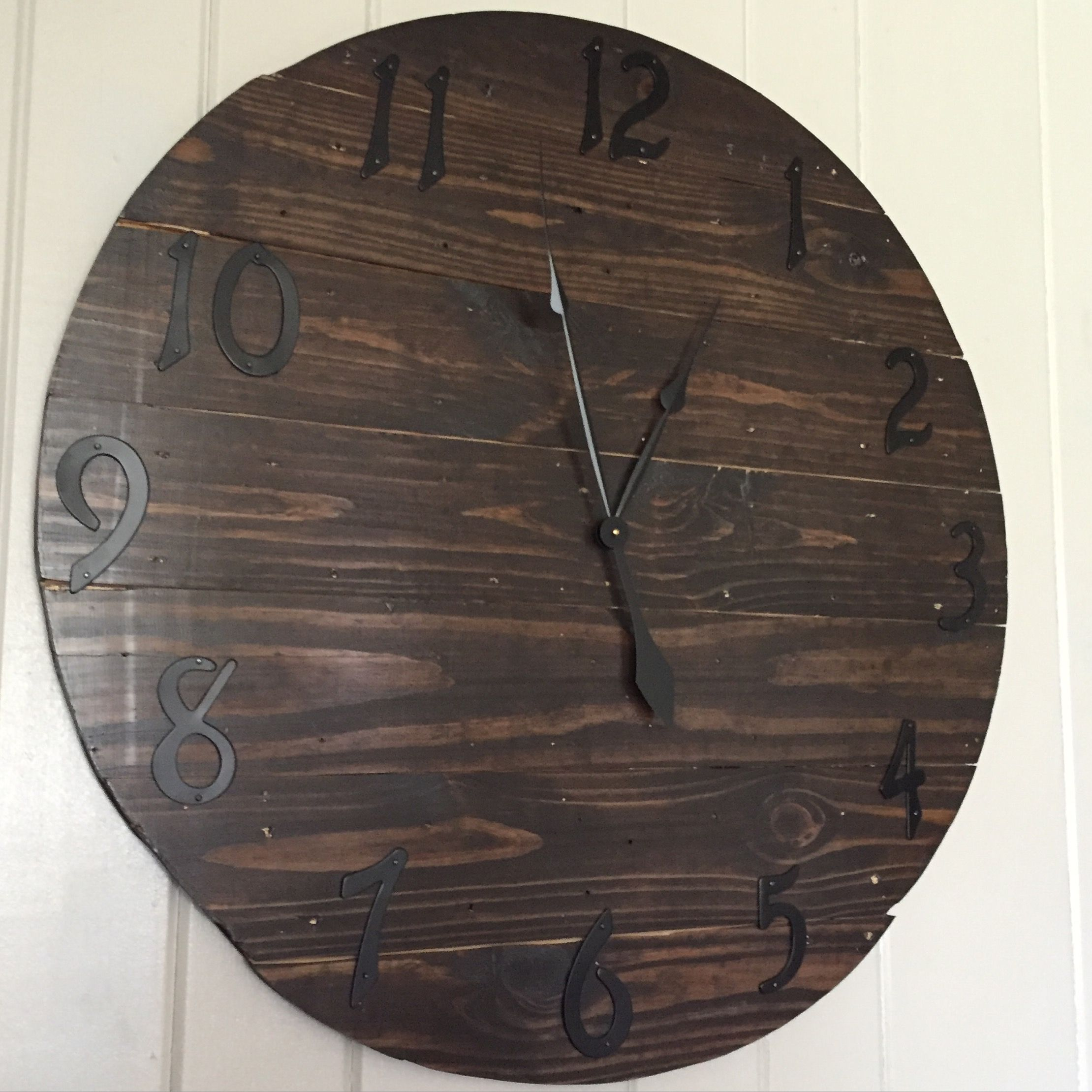 Handmade rustic wood clock Reclaimed wood stained