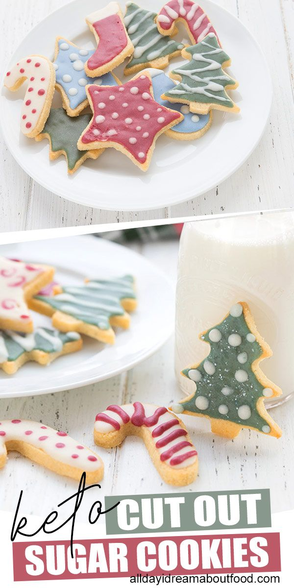 Sugar cookie perfection! These tender keto cut out sugar cookies are perfect for holiday decorating. Top them with delicious sugar-free royal icing for a fun, pretty, and delicious keto holiday treat. #ketocookies #holidayrecipes #sugarcookies #sugarfree #ketobaking #holidaytreats