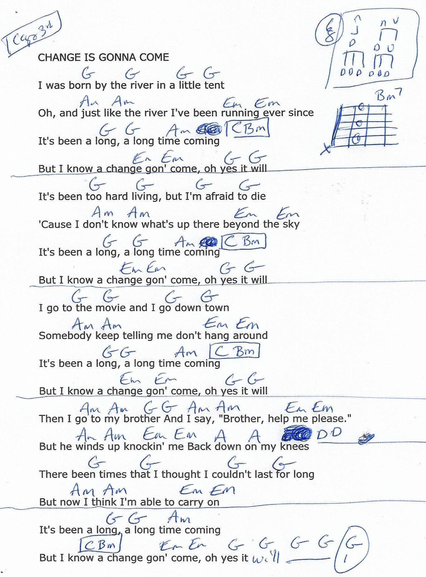 Change Is Gonna Come Sam Cooke Guitar Chord Chart Capo 3rd
