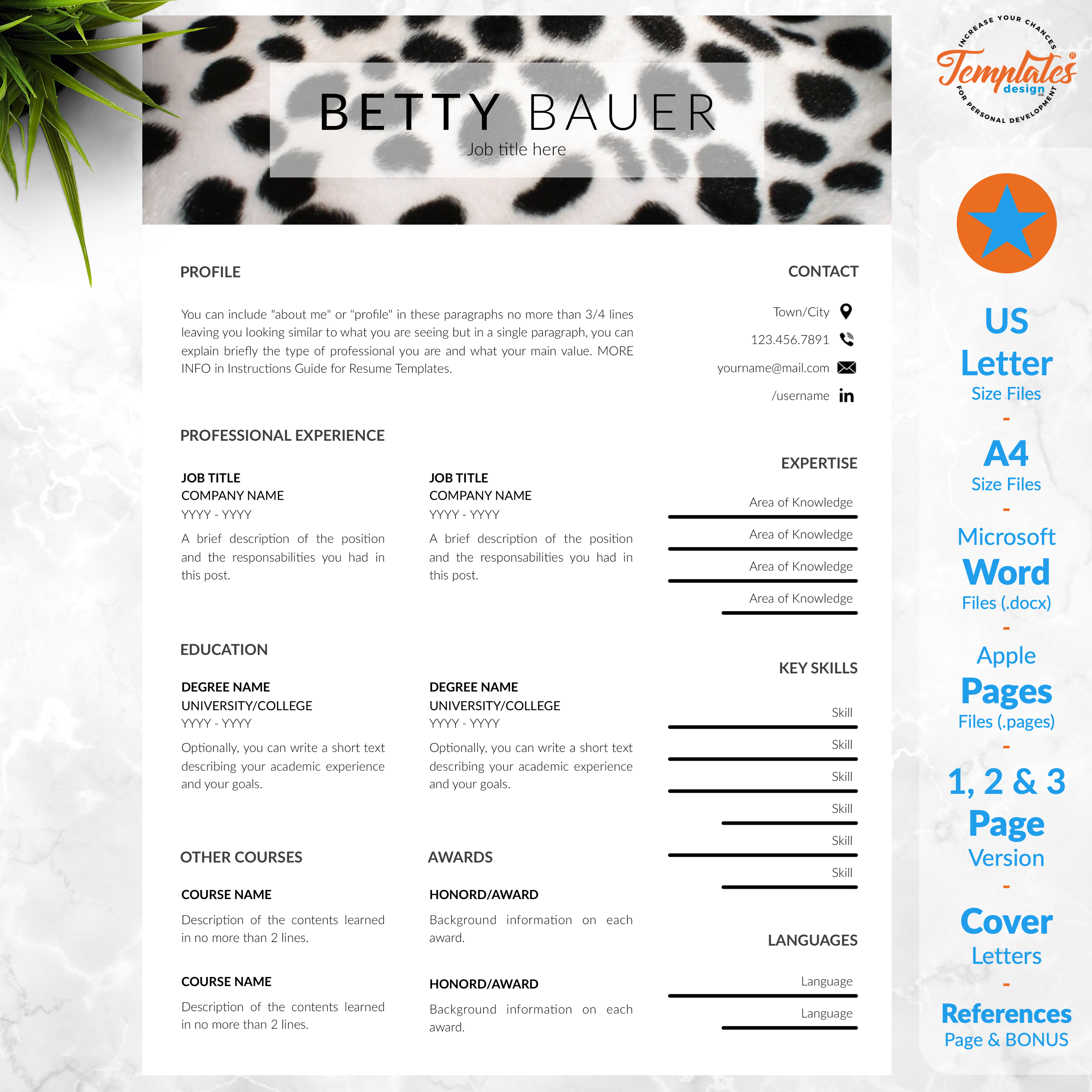 Pet Care Resume Animal Care Cv Template For Word Pages Cv For Animal Care Workers Pet Sitters Or Animal Caretakers Instant Download Reference Letter Template Cv Template Resume Templates