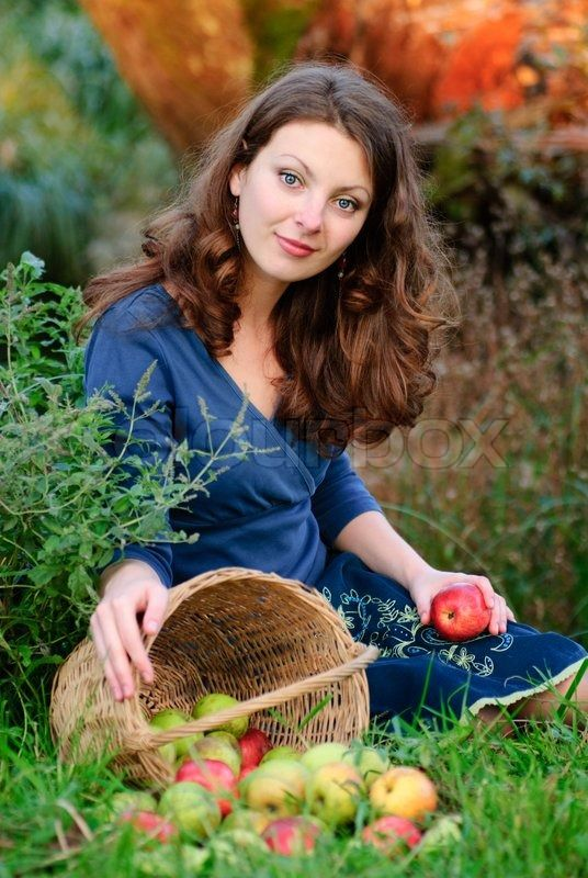 Stock image of 'Woman and apple crop in garden. Evening glow behind.'