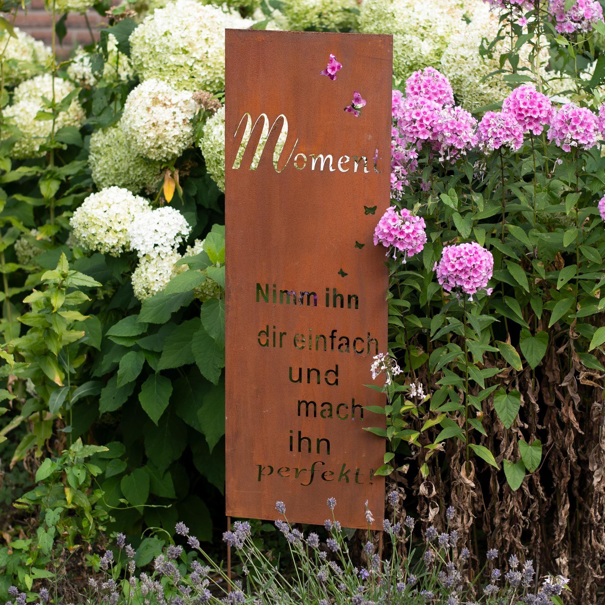 Gartendekoration Roststecker Metallschild Mit Spruch Moment Rostoptik Edelrost Blumenbeet Gartendekoration Dekoration Blumenbeet