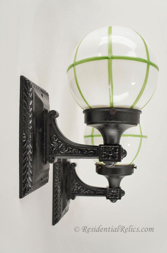 Pair Moe Bridges Antique Cast Iron Exterior Wall Sconces With Green Lined Glass Globes Circa 1920s Sconces Glass Globe Wall Sconces