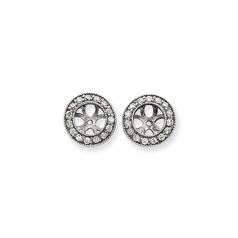 14k White Gold AAA Diamond Earring Jacket