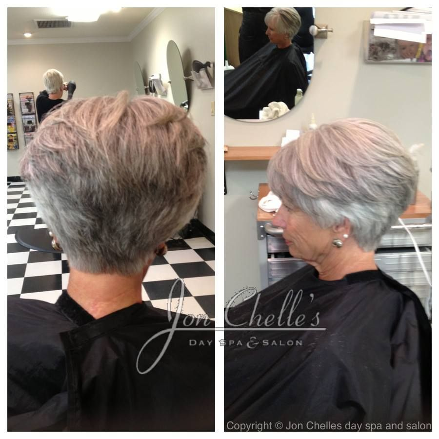 Short stacked womenus cut by julia winstead aveda gray
