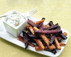 Baked Beet & Sweet Potato Fries with Peppercorn Mayo
