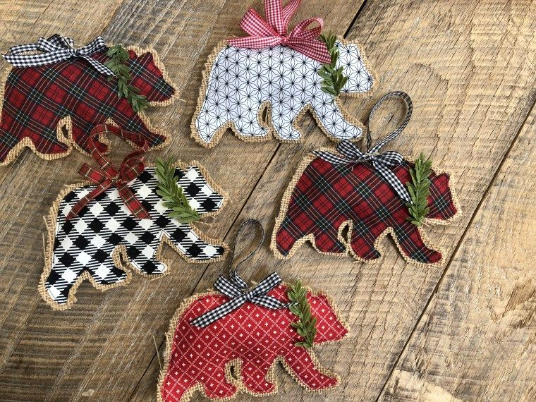 Rustic Burlap Bear Christmas Ornaments - Therm O Web #diychristmasgifts