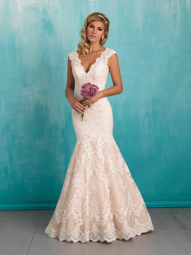 Classic lace composes this simple yet striking gown. Lace fit and ...