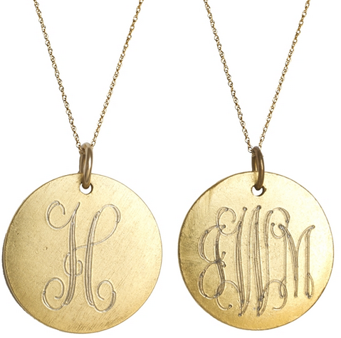 Goldenthread Antiqued Medium Gold Disc Initial: Sydney Buchanan - Inspirational and Fine Jewelry