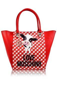 Love Moschino Sweet Cow Red Checked Tote Bags Shoulder Day Pret