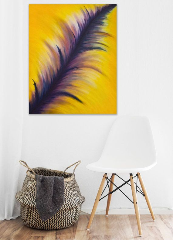 Large Abstract Oil Painting Yellow and Purple painting on canvas ...