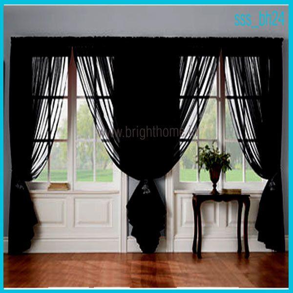 Living Room Ideas · Sheer Curtains    Living_room_sheer_semi_sheer_curtain_black_sssbh24