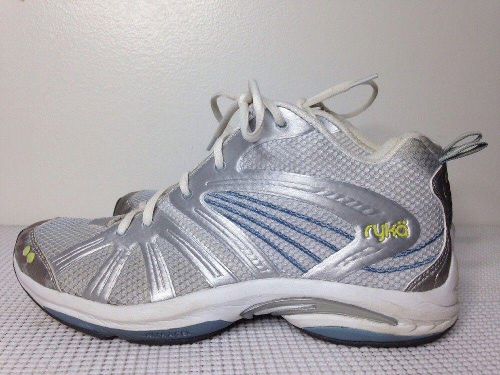 Ryka Enhance Sz 8 5 Running Kelly Ripa Silver White High Tennis