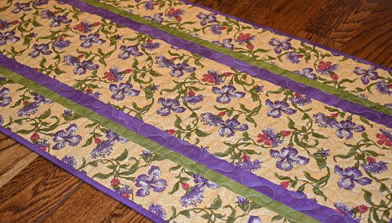 Purple And Gold Orchid Table Runner, Purple Table Runner, Gold Table Runner,  Purple Green Runner, Quilted Table Runner, Dining Table Runner