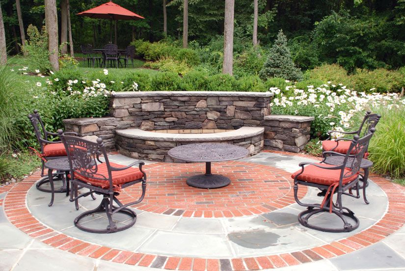 Backyard Fire Pit Ideas Custom Outdoor Firepit Design  With Red Chair With Cushion Seating