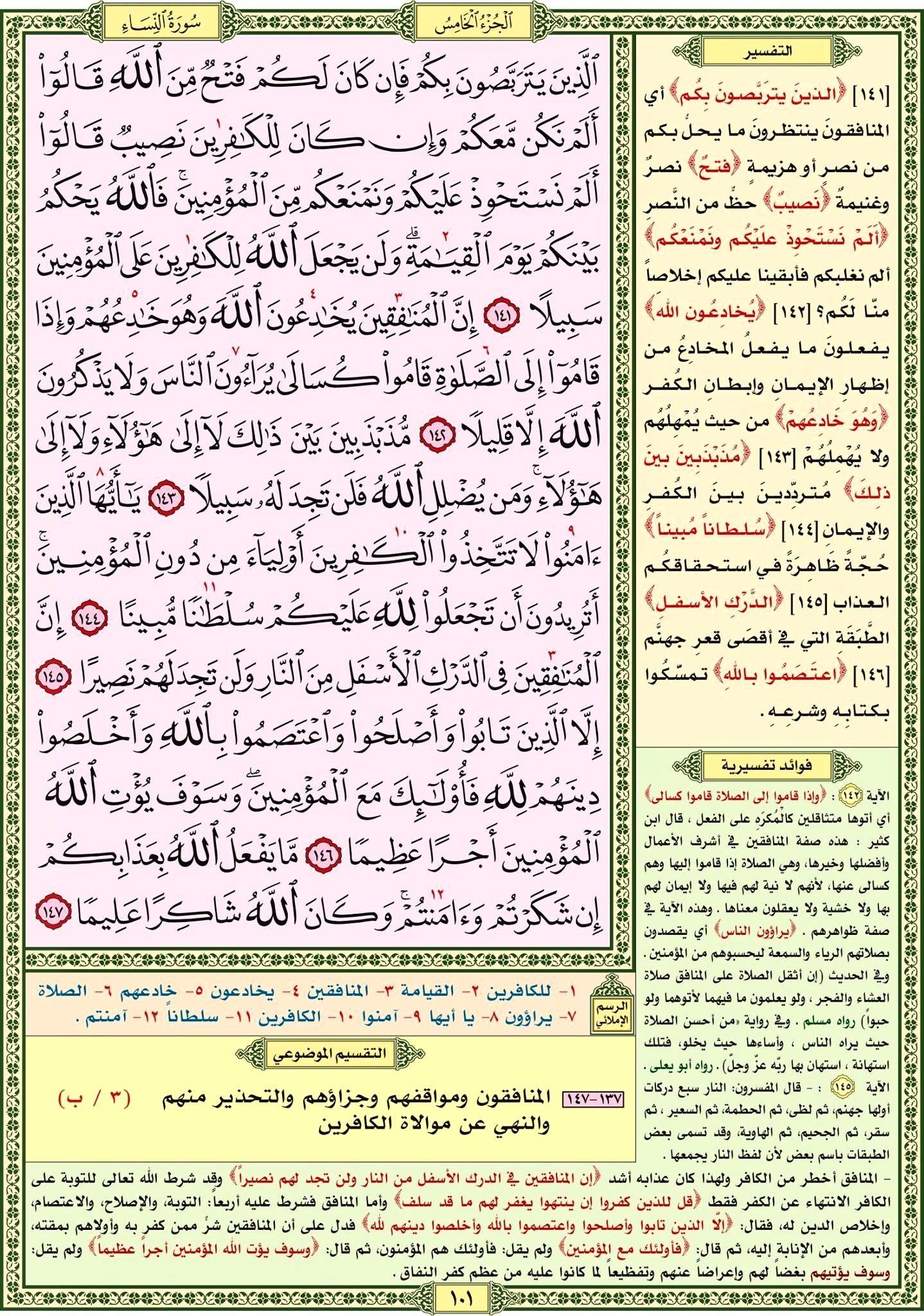 سورة النساء صفحة رقم ١٠١ مصحف التقسيم الموضوعي للحافظ المتقن Quran Verses Bullet Journal Verses