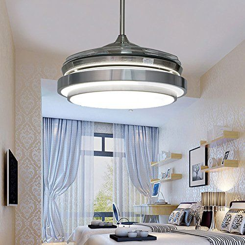 TiptonLight Silver Retractable Ceiling Fan with Trichromatic Dimming