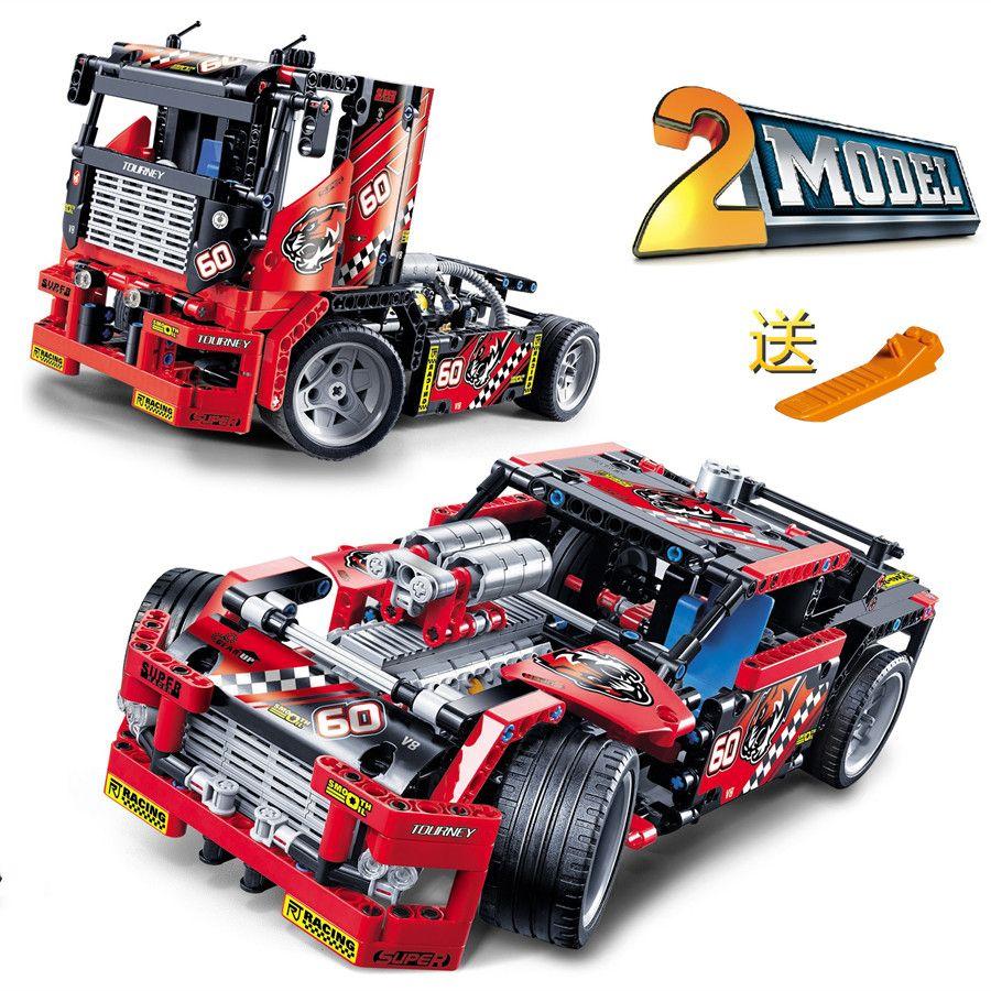 608 stks race truck auto 2 in 1 transformable model bouwsteen sets decool 3360 diy speelgoed compatibel met leping
