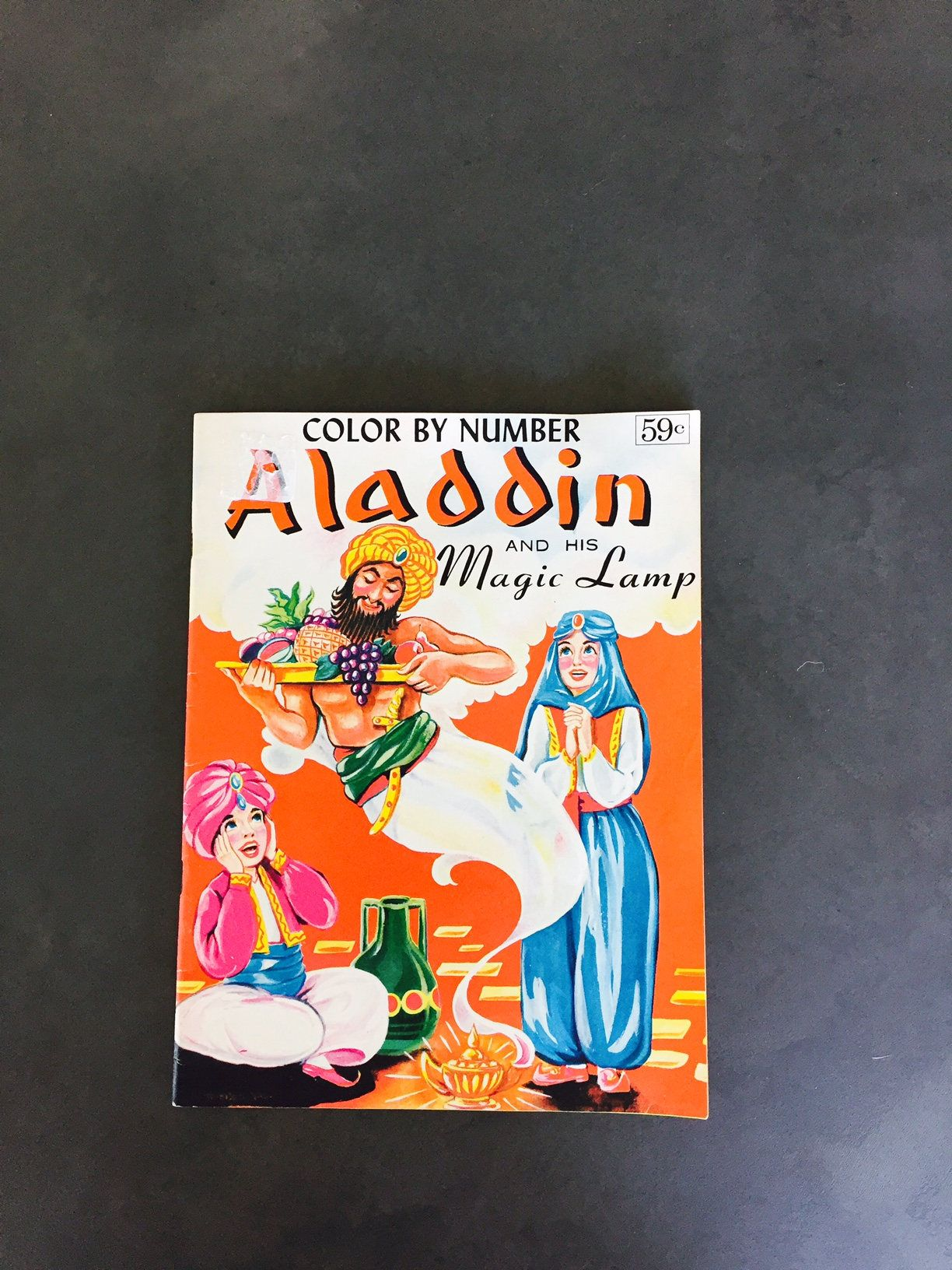Vintage color by number aladdin and his magic lamp and story unused by missenpieces on etsy
