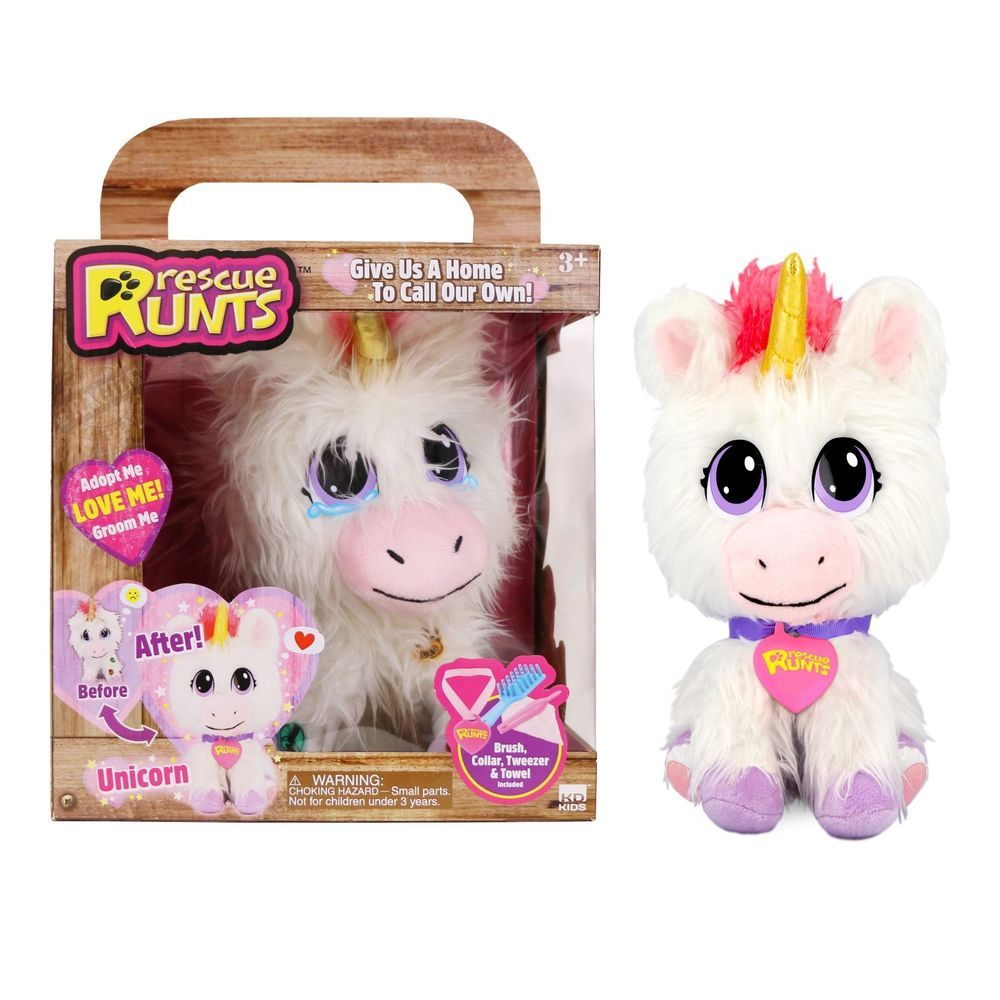 Rescue Runts Unicorn Plush New Exclusive Pet Adopt Me Love Me Groom Me Kidzdelight Unicorn Plush Fur Real Friends Pet Adoption