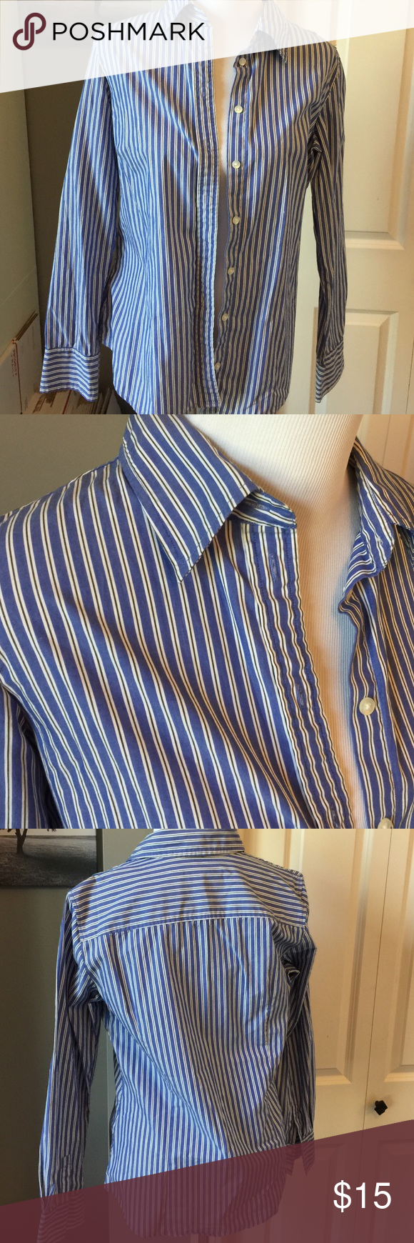 Pin striped button-down 95% cotton 5% lastol Old Navy Tops Button Down Shirts