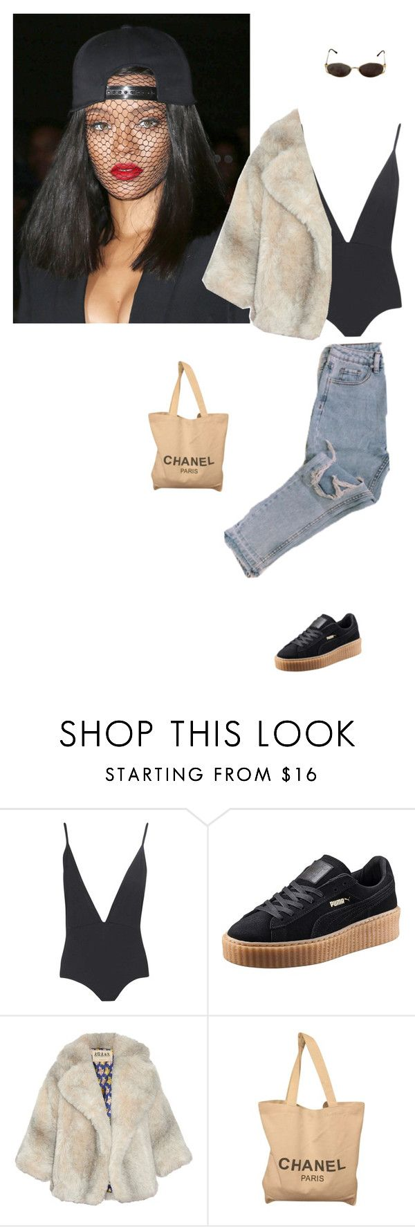 """""""Badass"""" by grungegal ❤ liked on Polyvore featuring Boohoo, Yves Saint Laurent, Puma, A.W.A.K.E. and Chanel"""