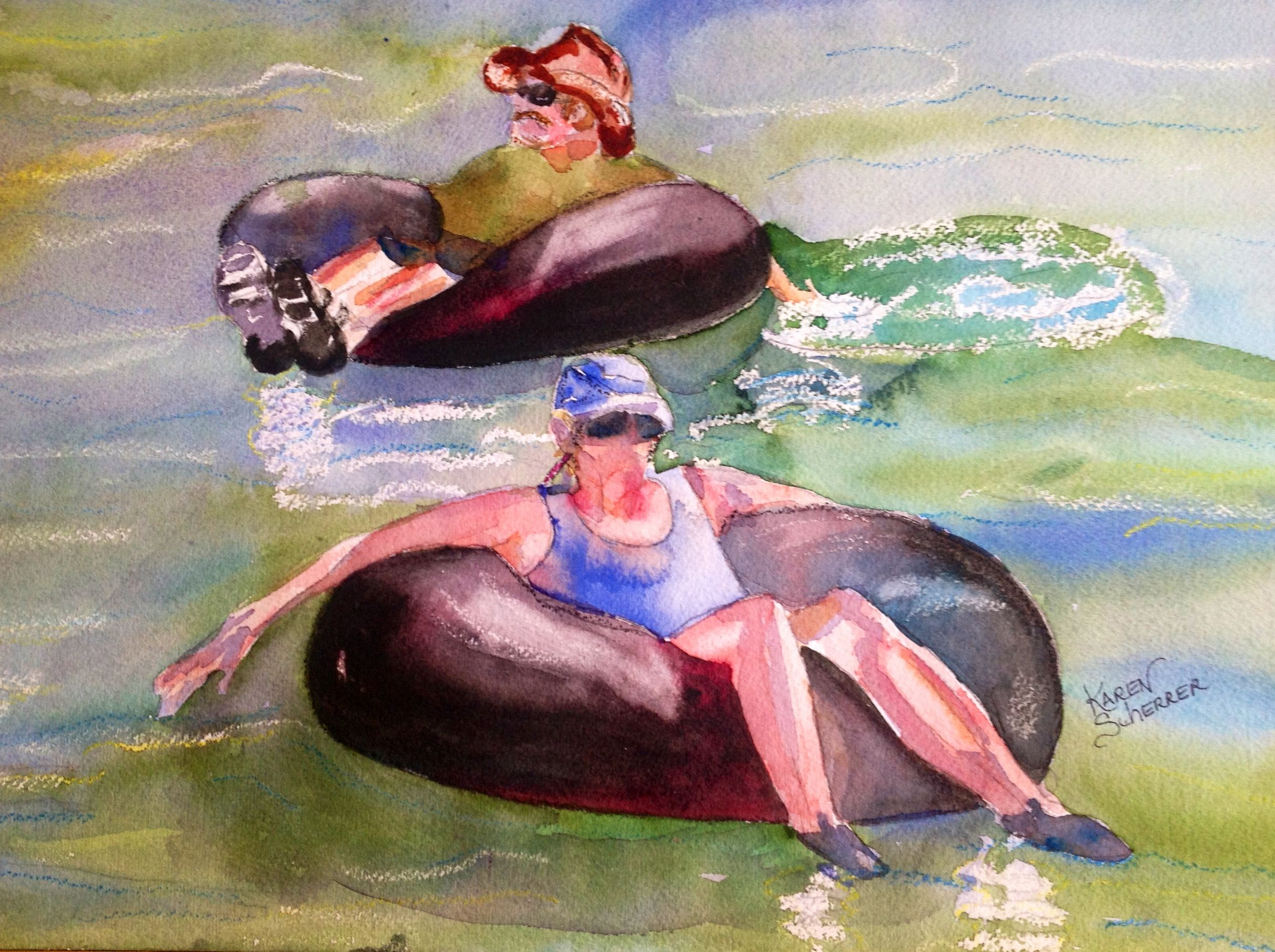 Watercolor artist in texas -  Tubing The Comal By Texas Watercolor Artist Karen Scherrer