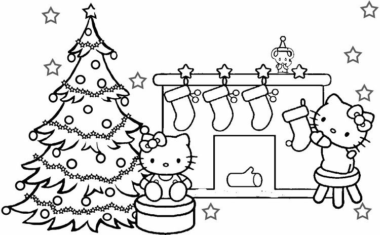 merry christmas hello kitty coloring pages   Coloring Pages For Kids ...