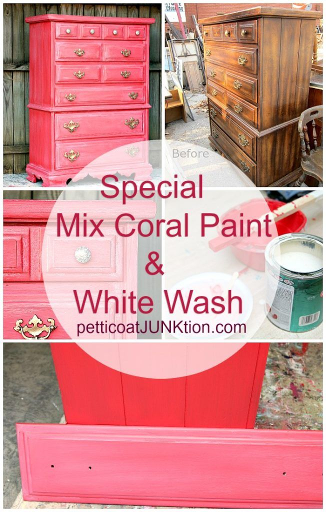 Petticoat Junktion Coral-color-furniture-makeover-from-the-Furniture Fixer-Uppers-with-white-wash-paint-technique
