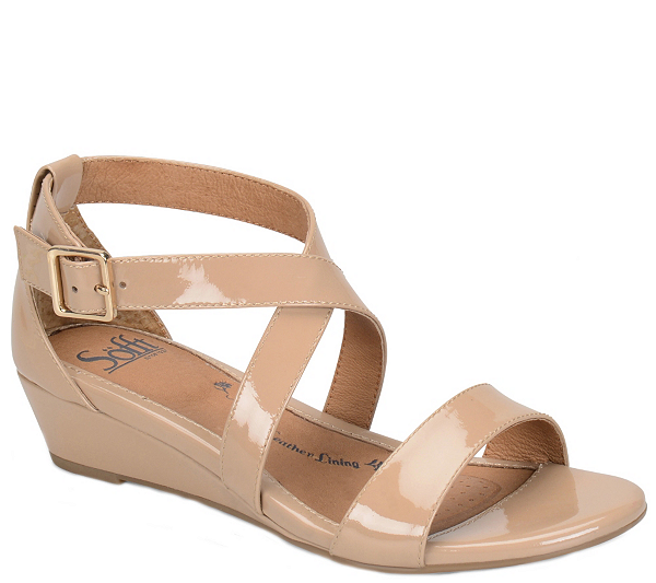 8ec1af256b66ac Step up your warm-weather wardrobe with Sofft s leather wedge sandal.  QVC.com