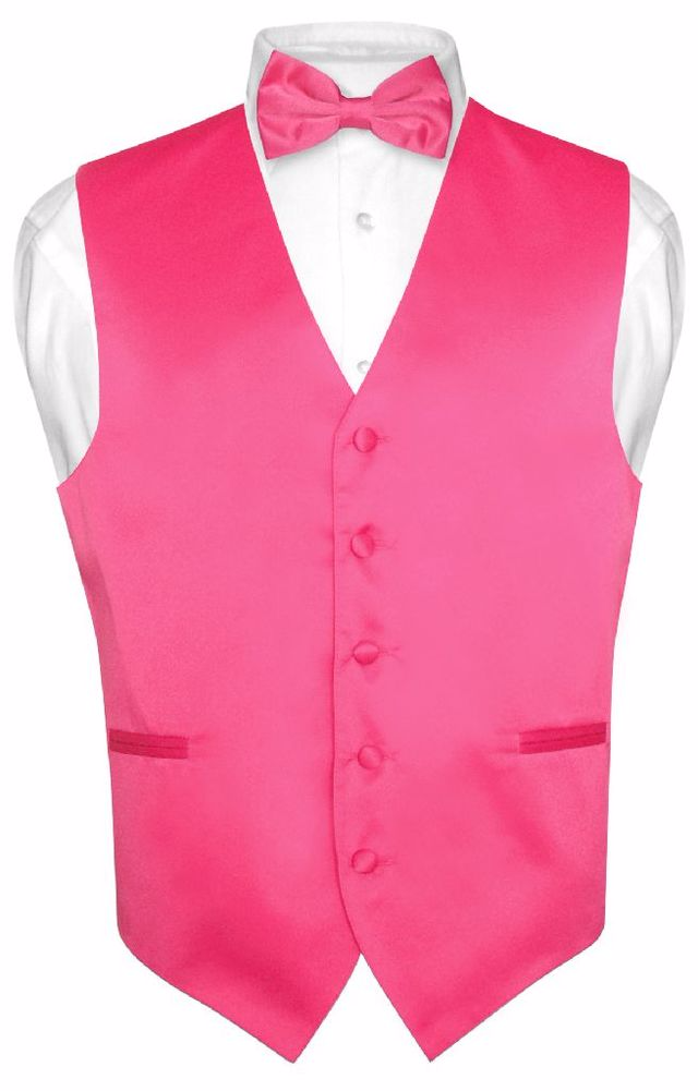 New Men/'s Vesuvio Napoli Tuxedo Vest Waistcoat Bowtie prom wedding party Black