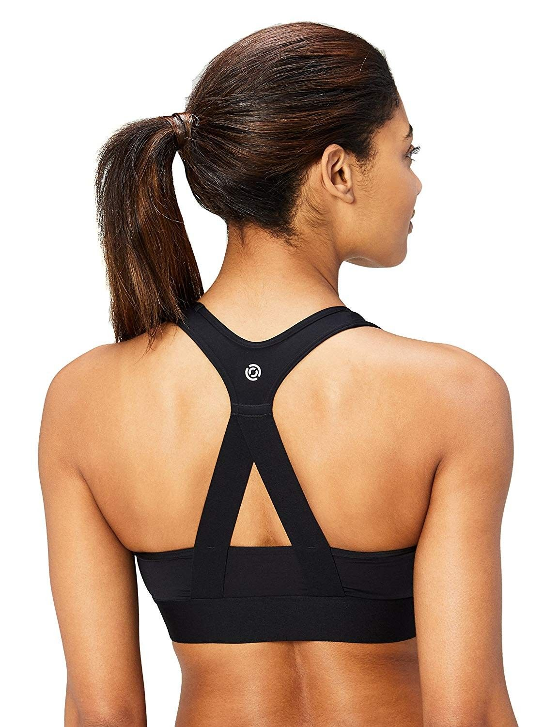 Women's (XS-3X) Cross Back Sports Bra with Removable Cups - Black - C818CLQ2H45 - Sports & Fitness C...