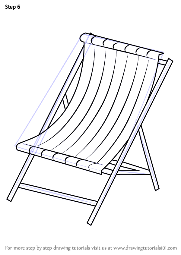 Step By Step How To Draw Beach Chair Drawingtutorials101 Com In 2020 Chair Drawing Chair Beach Chairs