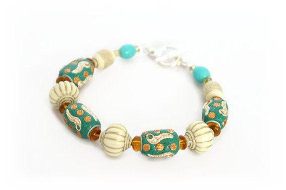 Turquoise Beaded Bracelet Turquoise & Cream by Lottieoflondon