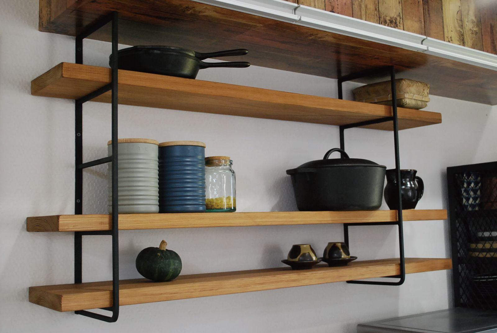 楽天市場 アイアン 無垢材 ウォールシェルフ W1000木製シェルフ