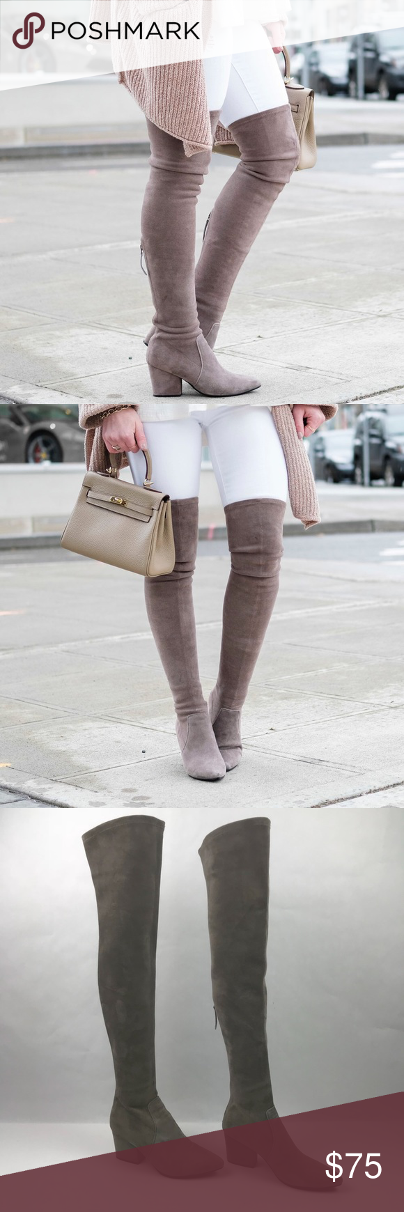 51c590cdaf1 Goodnight Macaroon Carina Taupe Faux Suede Boots Over the knee faux suede  boots by Goodnight Macaroon