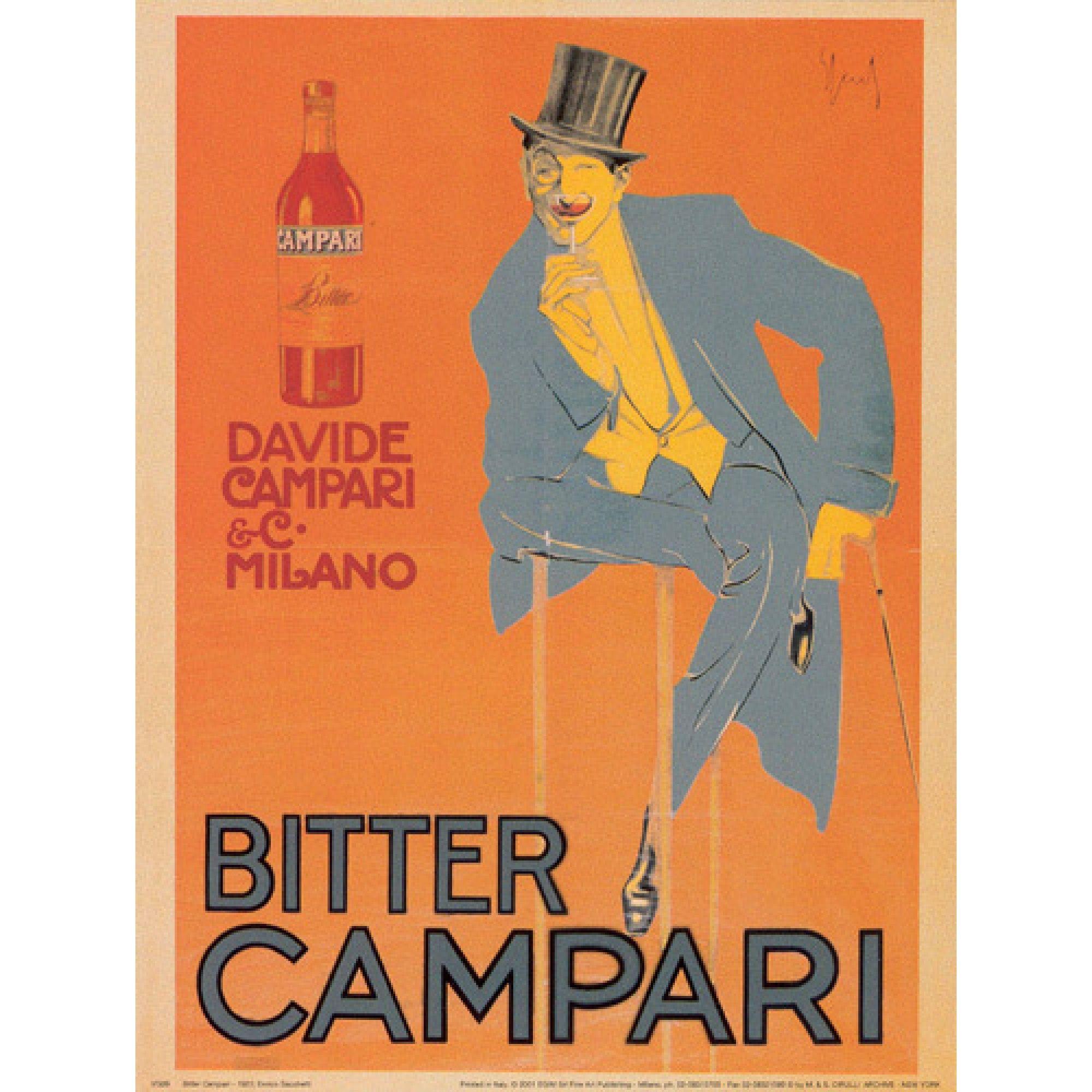 Vintage Bitter Campari Italian Food /& Drink Illustration Art Print Poster Framed