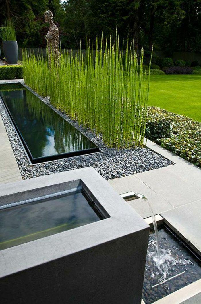 Jardin paysager herbe haute et piscine rectangulaire for Plante verte haute exterieur