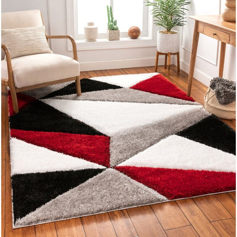 San Francisco Shag Red Black Area Rug In 2020 Black Area Rugs Rugs In Living Room Red Living Room Decor