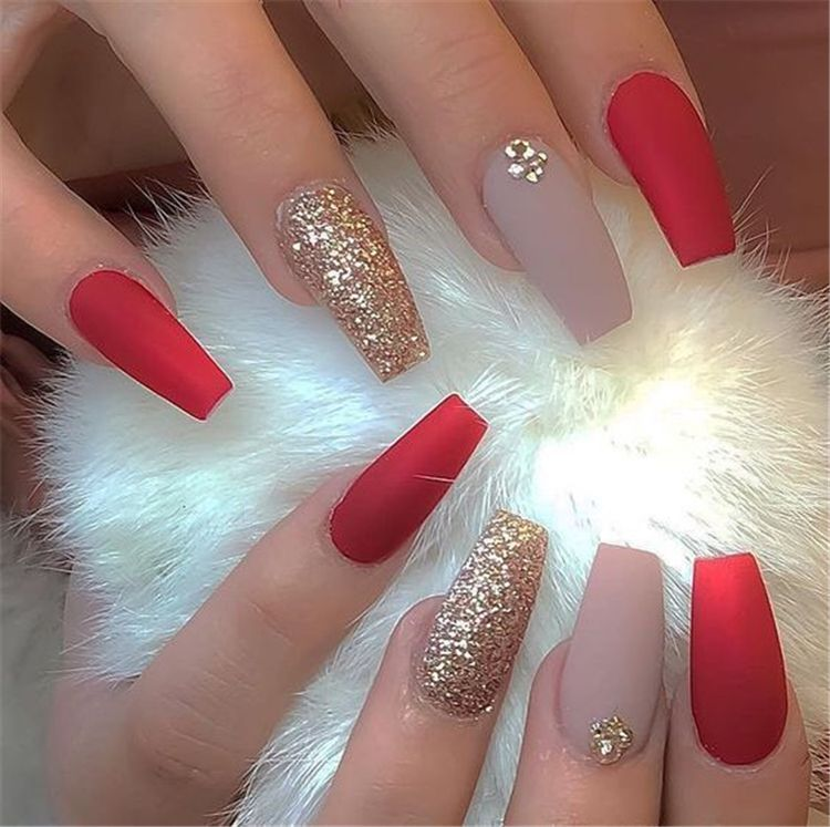 Hottest Red Long Acrylic Coffin Nails Designs Of 2019; Red