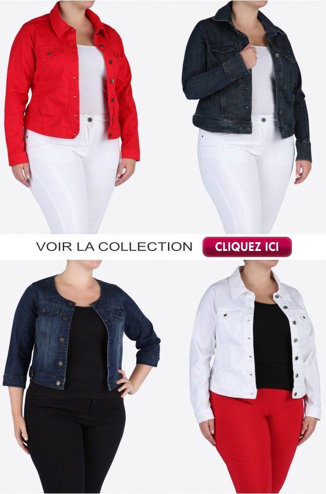 vestes en jeans grandes tailles femmes couleur rouge blanche ou stone veste en jean femme. Black Bedroom Furniture Sets. Home Design Ideas