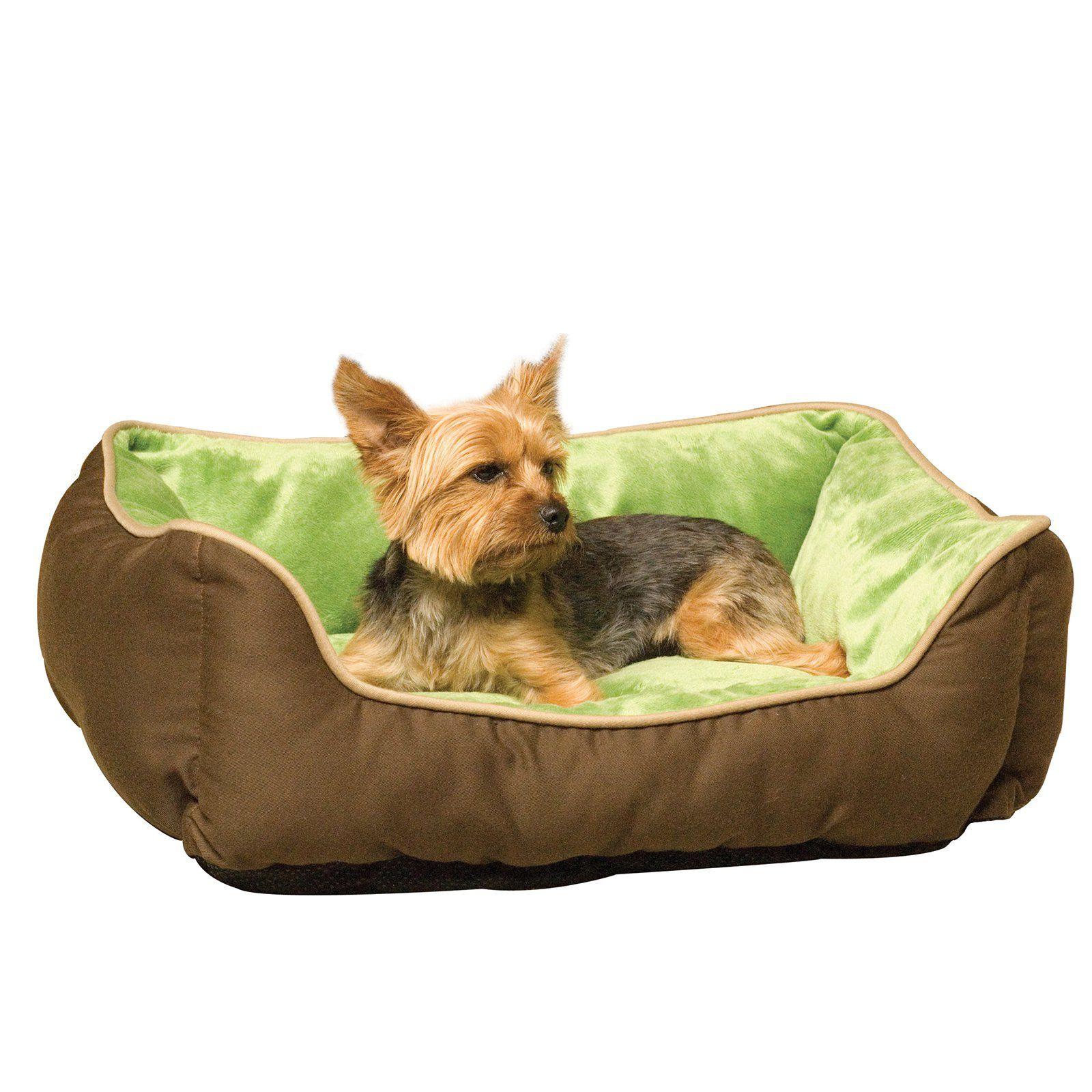 K H Pet Products Self Warming Lounge Sleeper Pet Bed Mocha Green