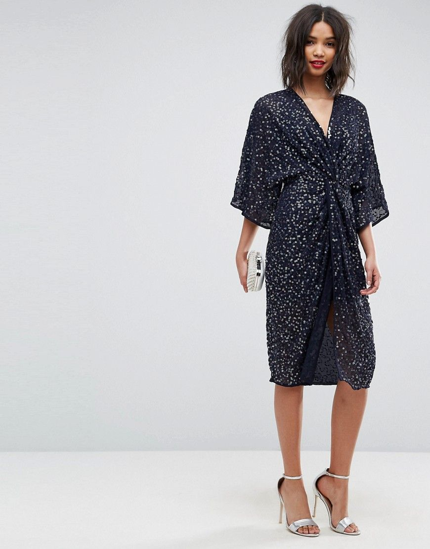 dff4ff561c ASOS Sequin Kimono Midi Dress - Navy