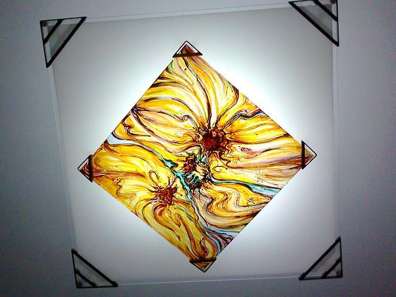 Girasoli - Colori per il vetro su lastra di vetro, 30 x 30, 2008