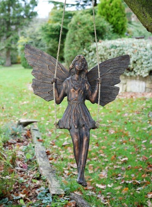 Fairy On A Swing Metal Garden Ornament Gardensite Co Uk Fairy Garden Ornaments Metal Garden Ornaments Fairy Statues