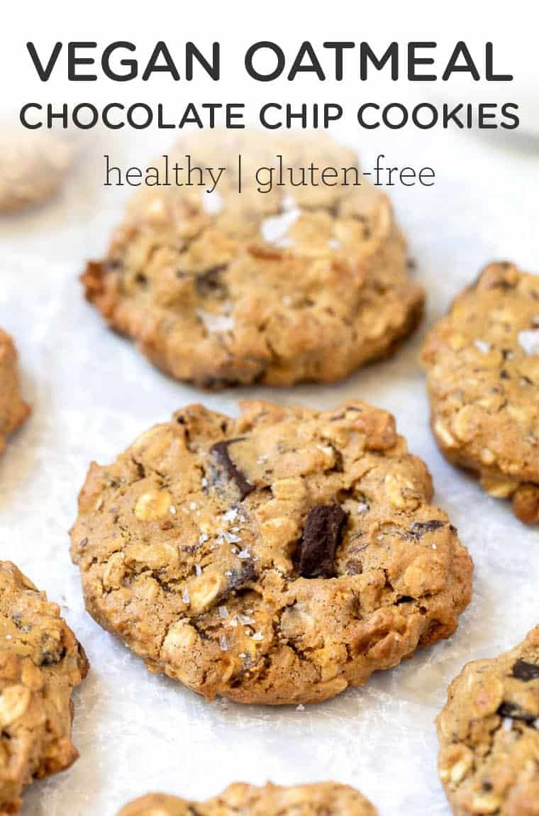 The Best Vegan Oatmeal Chocolate Chip Cookies Gf Recipe In 2020 Vegan Oatmeal Chocolate Chip Cookies Chocolate Chip Oatmeal Oatmeal Chocolate Chip Cookies