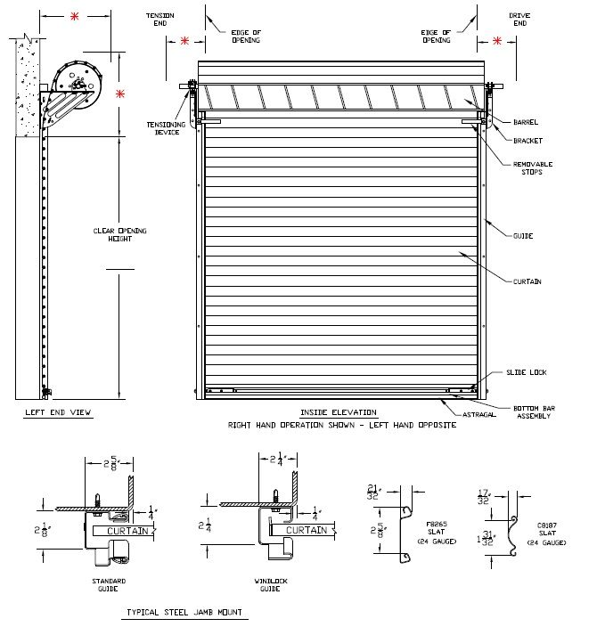 Model 2500 rolling steel commercial garage door heavy for Overhead garage door sizes