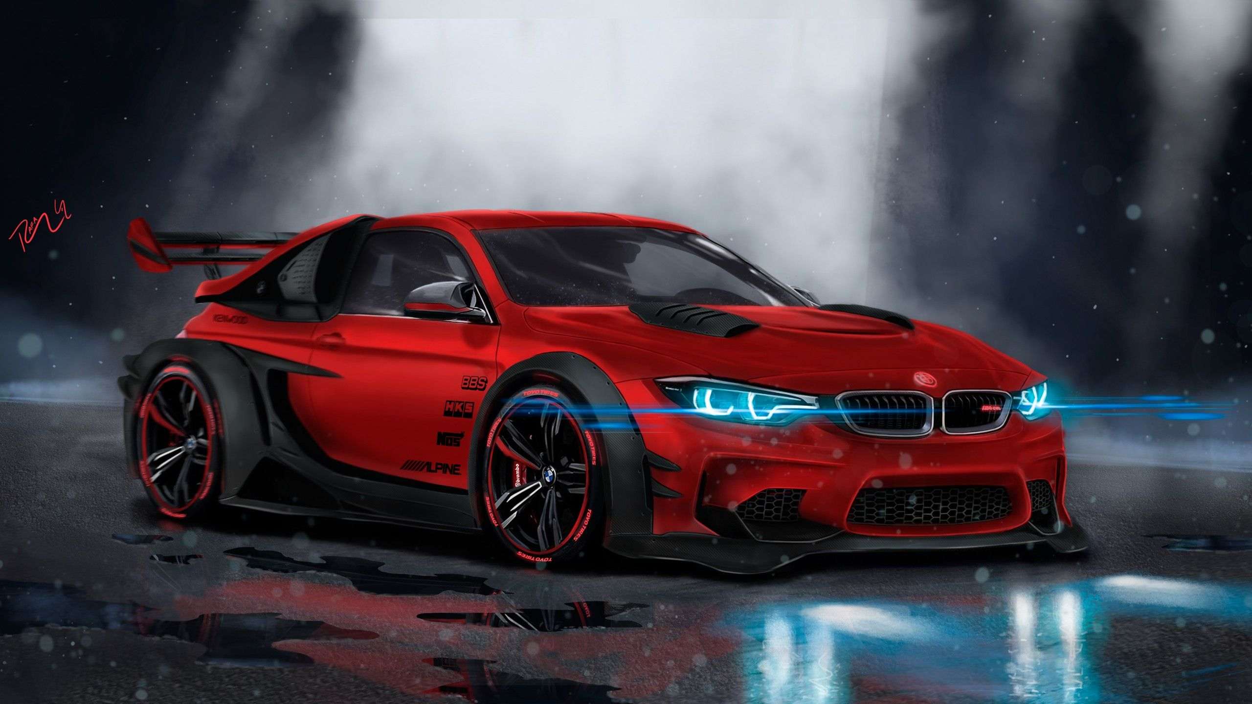 Wallpaper Bmw M4 Custom Cgi Neon Sport Car Hd 4k Wallpaper Bmw M4