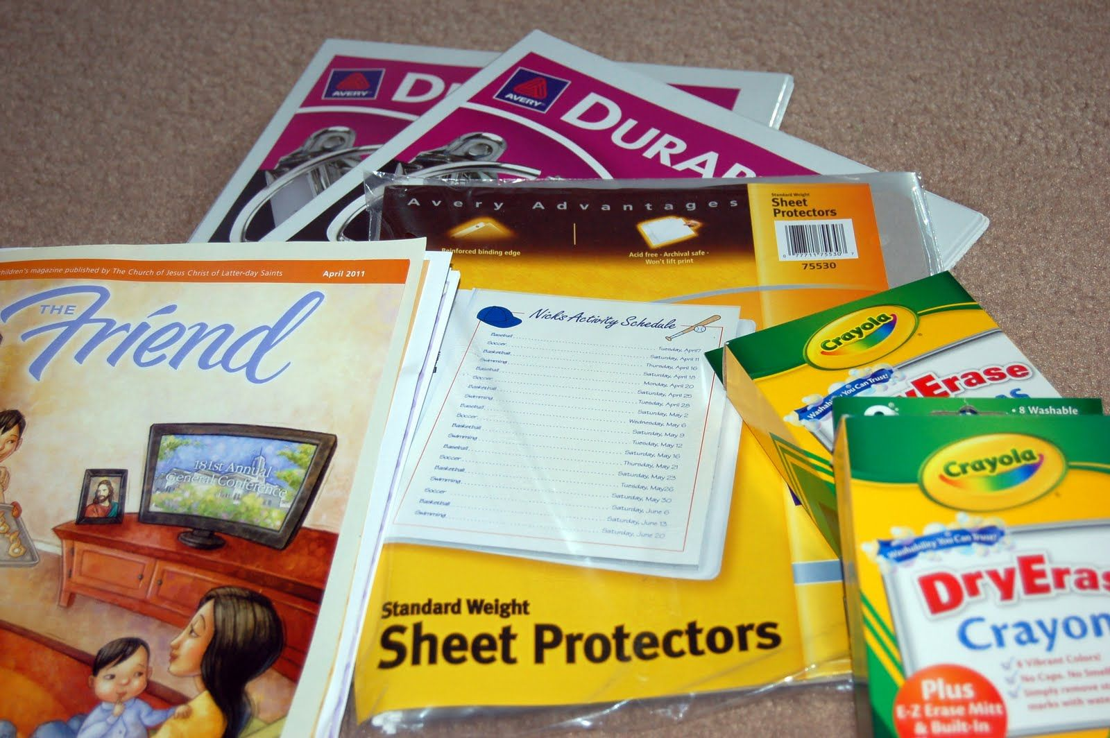 Supplies to make a quiet book. Fill with reproducibles, slip into ...